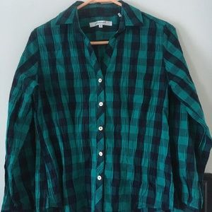 Foxcroft Green and Black check shirt